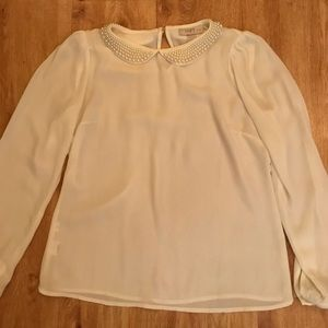 pearled peter pan neckline top from Loft
